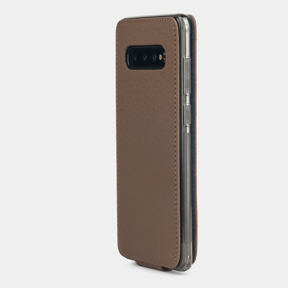 Чехол для Samsung Galaxy S10 из натуральной кожи теленка, цвета кофе