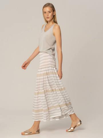 Женская юбка в бело-серую полоску из вискозы - фото 2