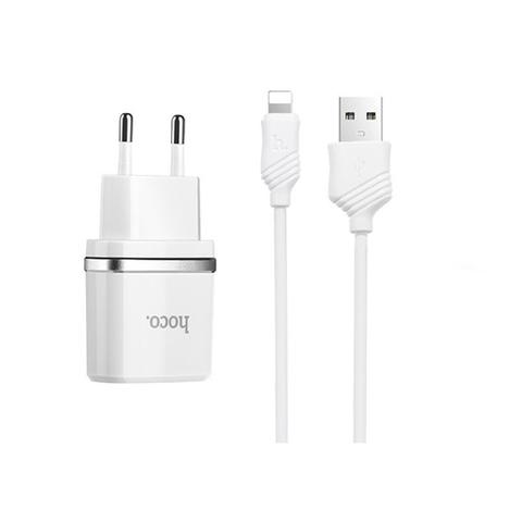 Купить зарядное устройство Hoco c12 с кабелем Lightning
