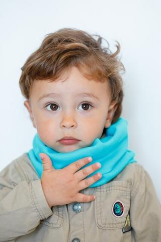 Детский снуд-горловинка из хлопка в рубчик бирюзовый