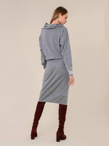 Женское платье светло-серого цвета из шерсти и вискозы - фото 4