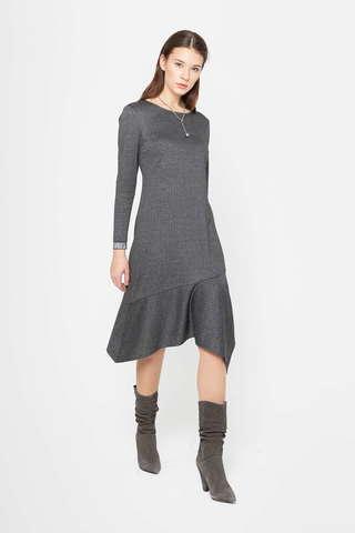 Фото серое платье с асимметричным воланом по краю подола - Платье З409-605 (1)