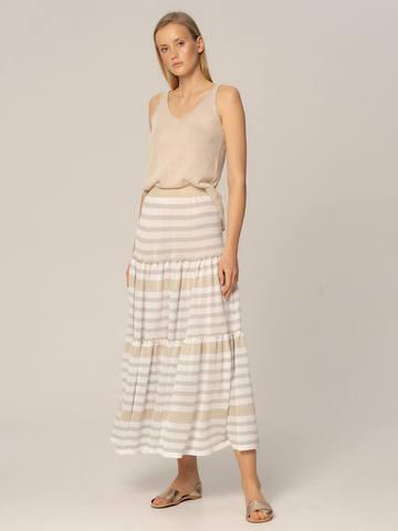 Женская юбка в бело-серую полоску из вискозы - фото 4