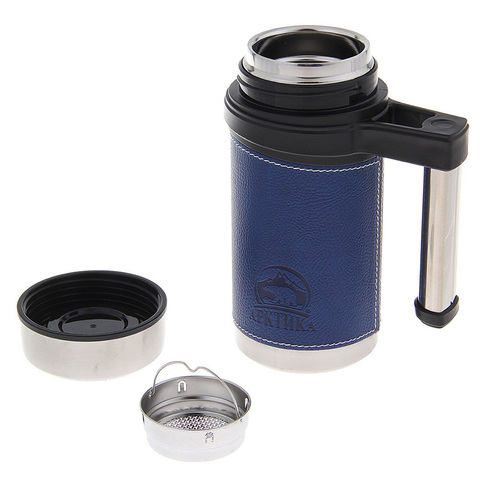 Термокружка Арктика (0,5 литра), синяя, кожаная вставка