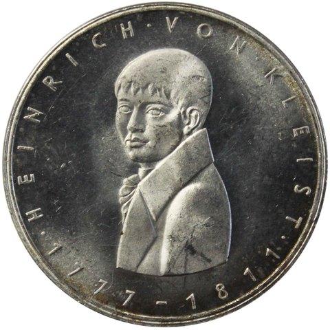 5 марок. 200 лет со дня рождения Генриха фон Клейста. Германия. (G). Серебро. 1977 год. AU-