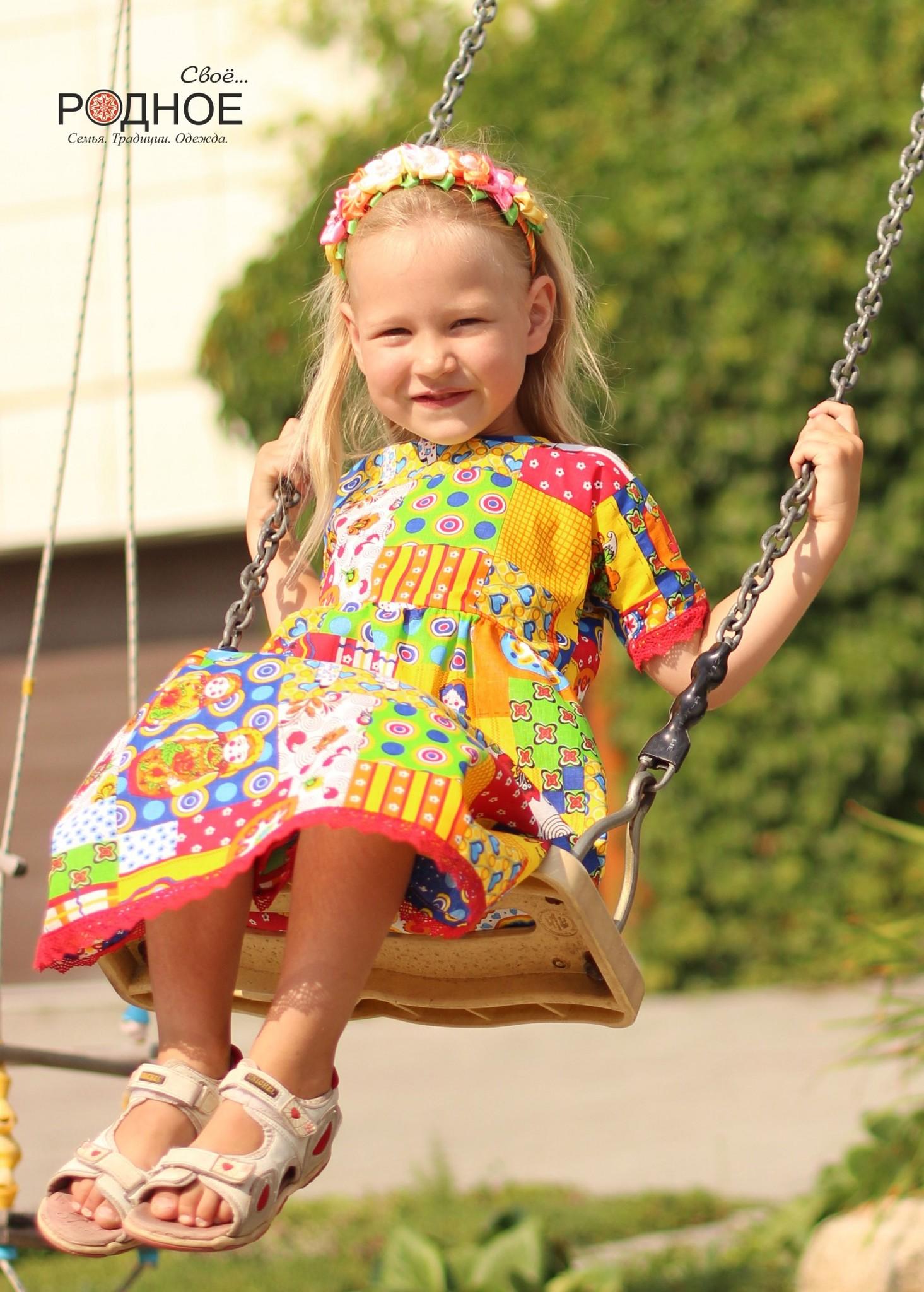 Платье Дымковская игрушка 02 льняное