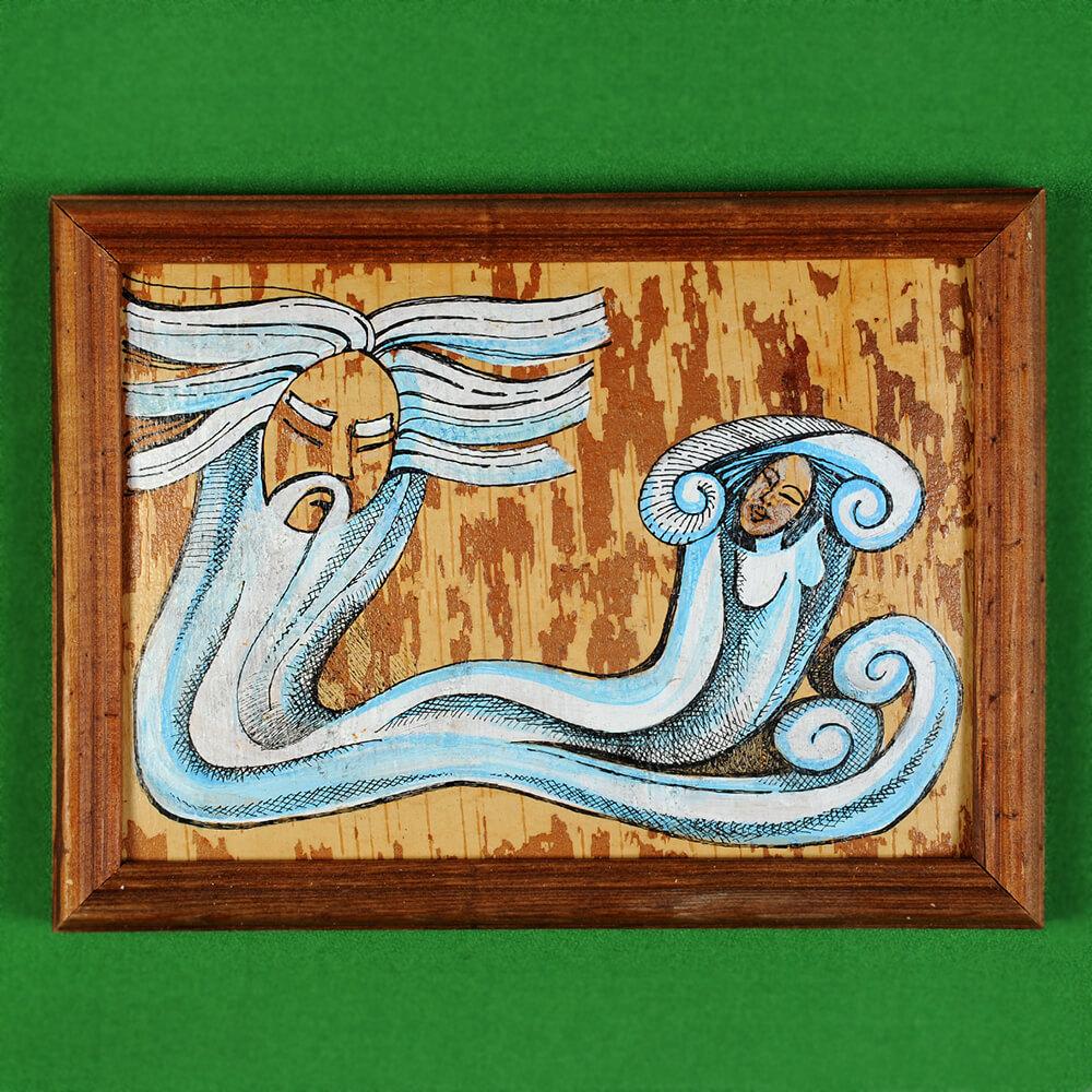 Картина на бересте Ангара убегает от Байкала