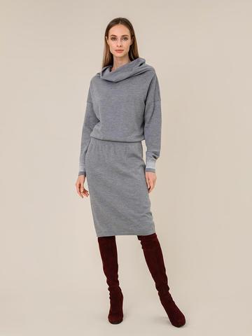 Женское платье светло-серого цвета из шерсти и вискозы - фото 2