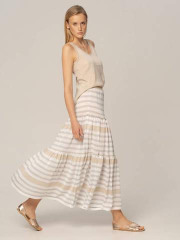 Женская юбка в бело-серую полоску из вискозы - фото 3