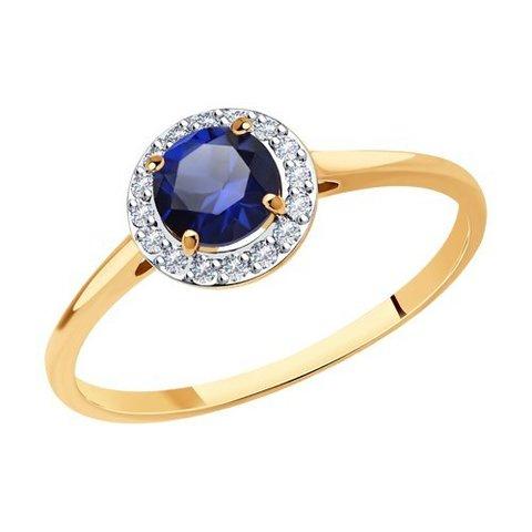 716667 - Кольцо из золота с корундом и фианитами
