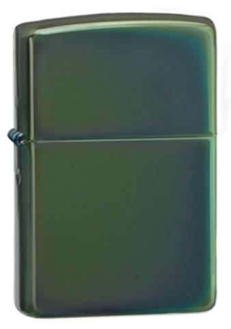 Зажигалка Zippo с покрытием Chameleon, латунь/сталь, зелёная, глянцевая, 36x12x56 мм