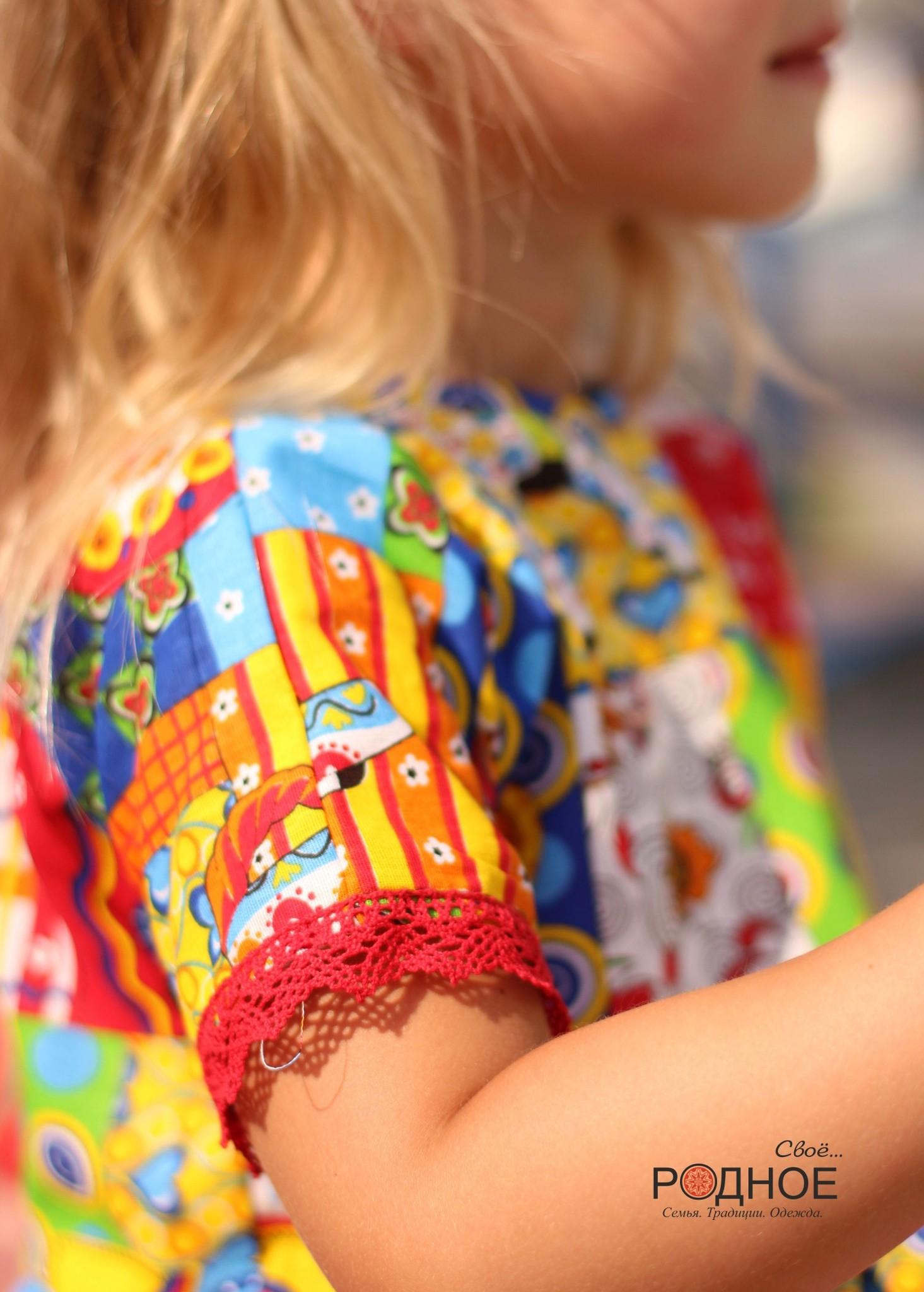 Платье Дымковская игрушка 02 рукав