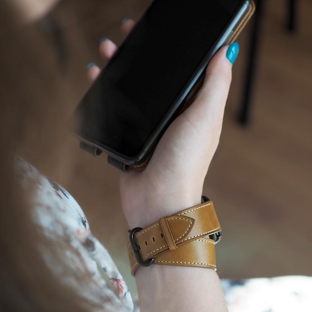 Ремешок для Apple Watch 42мм ST Double Strap из натуральной кожи теленка, цвета винтаж