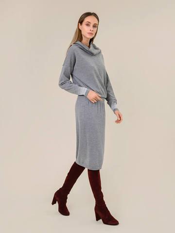 Женское платье светло-серого цвета из шерсти и вискозы - фото 3