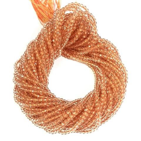 Бусины шпинель (имитация) граненая 2 мм цвет персиковый цена за 185 бусин (~37 см)