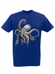Футболка с принтом Море, Океан, Осьминог (Sea, ocean, octopus) синяя 002