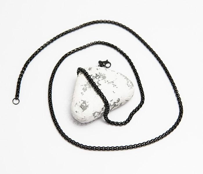 PM249-2 Черная мужская цепочка из стали (60 см) фото 02