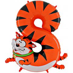 Воздушный шар (40''/102 см) Цифра, 8 Кот, 1 шт.