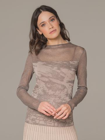Женский джемпер коричневого цвета с прозрачными вставками - фото 1