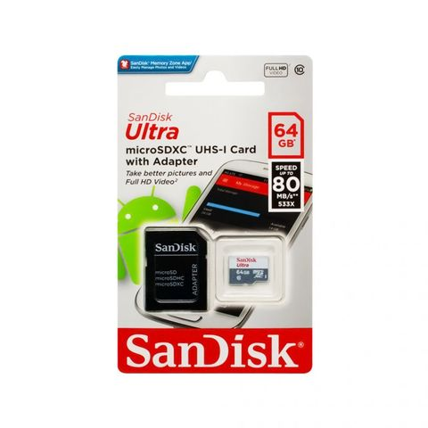 Карта памяти SANDISK MicroSDXC UHS-I 64GB Class 10 до 80MB/s