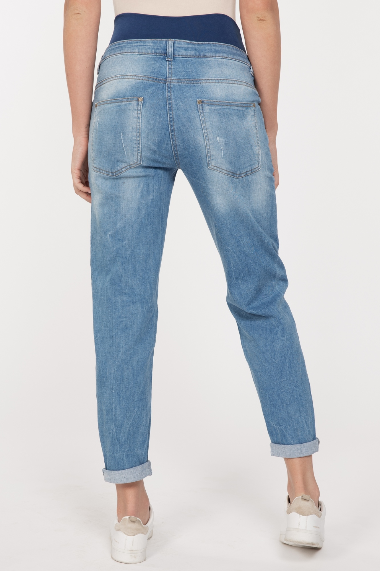 Фото джинсы-бойфренды для беременных MAMA`S FANTASY, высокая вставка, регулируемый объем от магазина СкороМама, синий, размеры.