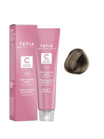 Крем-краска для волос с маслом монои 7.11 блондин пепельный интенсивный 60 мл COLOR CREATS Tefia
