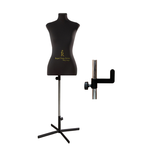 Манекен портновский Кристина, тип фигуры песочные часы, комплект Премиум, размер 44, цвет чёрный, в комплекте подставка