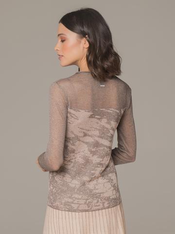 Женский джемпер коричневого цвета с прозрачными вставками - фото 3
