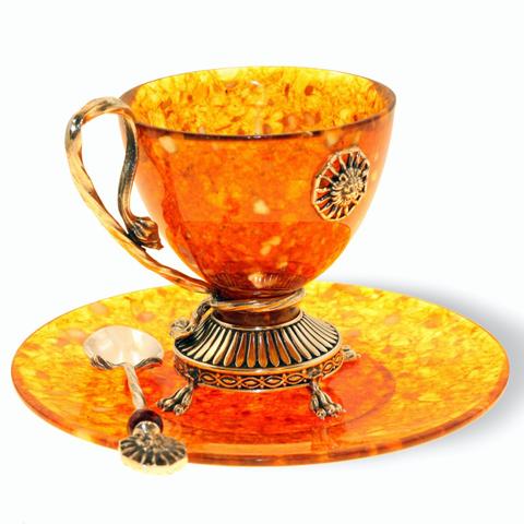 Чашка чайная из янтаря «Цезарь» с ложечкой