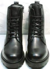 Женские кожаные ботинки на шнурках осень весна Misss Roy 252-01 Black Leather.
