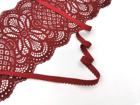 Отделочная резинка, с фестоном, темно-красный, 12мм, (Арт: OTR641/12-101), м