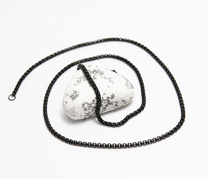 PM249-2 Черная мужская цепочка из стали (60 см) фото 03