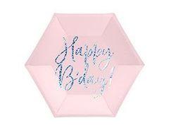 ПД Тарелки бумажные, Happy B'day! Розовый, 20 см, 6шт, 1  уп.