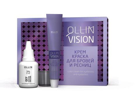 OLLIN vision set graphite (графит) крем-краска для бровей и ресниц 20мл (в наборе)
