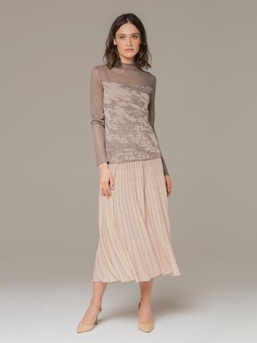 Женский джемпер коричневого цвета с прозрачными вставками - фото 4