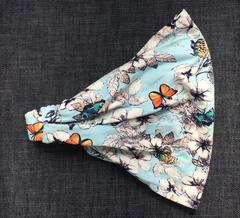 Повязка - косынка - бандана из трикотажа с принтом Бабочки и цветы