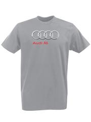 Футболка с принтом Ауди A6 (Audi A6) серая 008