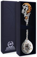Серебряная ложка «Зодиак-Рыбы» с позолотой
