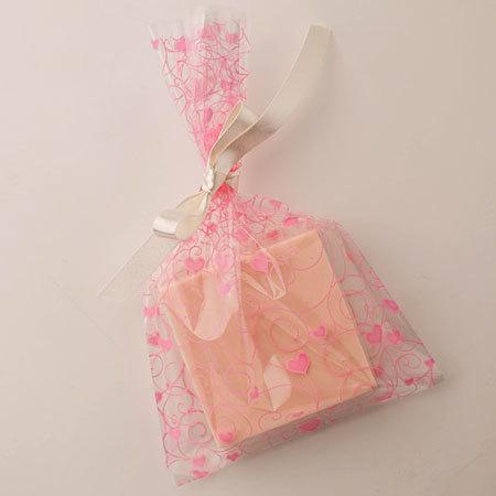 Пакет целлофановый для мыла Сердечки розовые