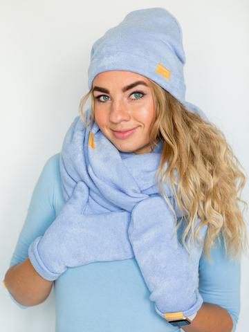 Шапка голубая из турецкой шерсти