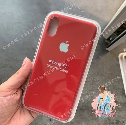 Чехол iPhone X/XS Silicone Case Full /camellia white/ винный