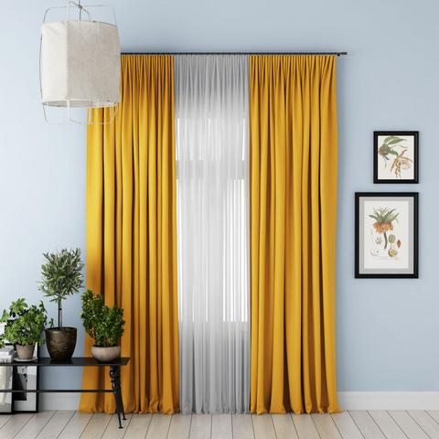 Комплект штор и тюль Джина блэкаут желтый