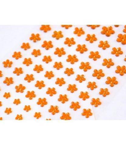 Стразы самоклеющиеся цветочки разного размера 78 шт желтые