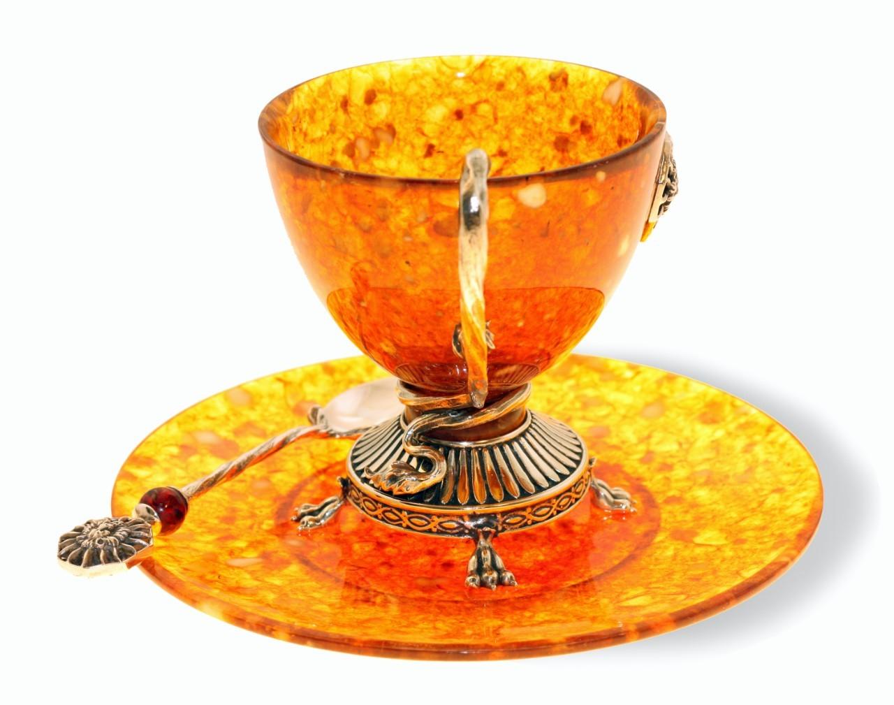 чайная пара из янтаря с ложечкой «Цезарь»