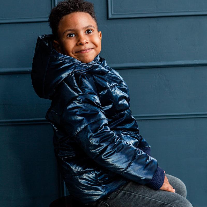 Демисезонная детская подростковая куртка в синем цвете для мальчика