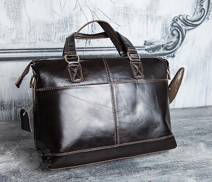 BAG418-2 Шикарная мужская сумка из натуральной кожи с ремнем на плечо фото 02