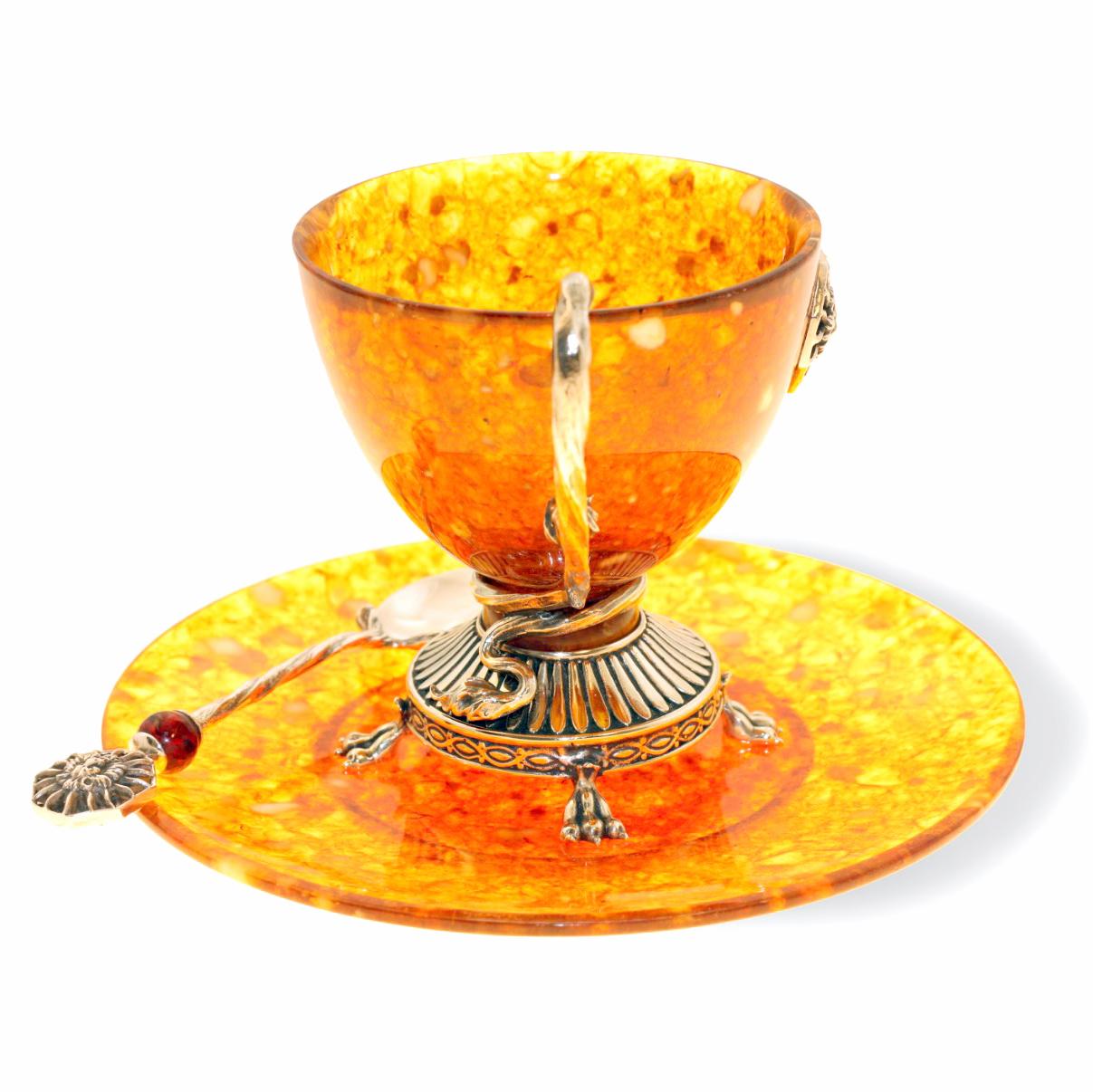 чашка с блюдцем из янтаря «Цезарь» арт 11203