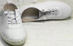 Белые женские кеды кроссовки из натуральной кожи стиль смарт кэжуал Rozen 115 All White.