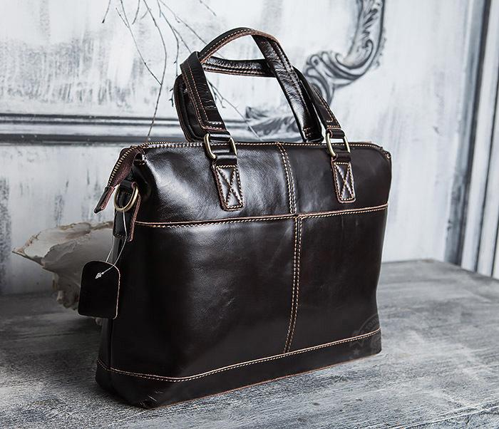 BAG418-2 Шикарная мужская сумка из натуральной кожи с ремнем на плечо фото 03
