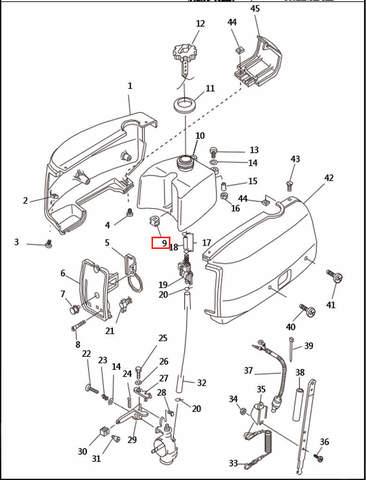 Прокладка бака  для лодочного мотора T2,5 SEA-PRO (1-9)